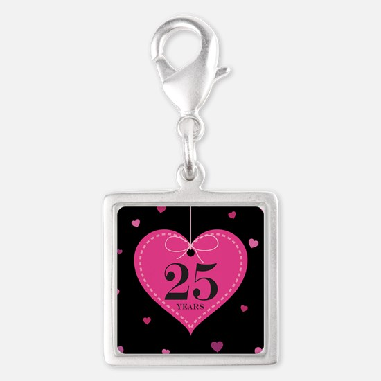 25th Anniversary Heart Gift Silver Square Charm