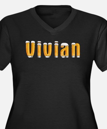 Vivian Beer Women's Plus Size V-Neck Dark T-Shirt