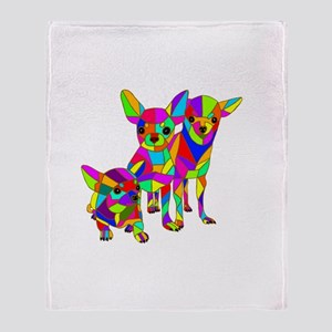 3 Colored Chihuahuas Throw Blanket