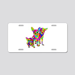 3 Colored Chihuahuas Aluminum License Plate