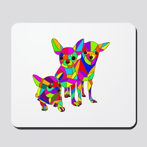 3 Colored Chihuahuas Mousepad
