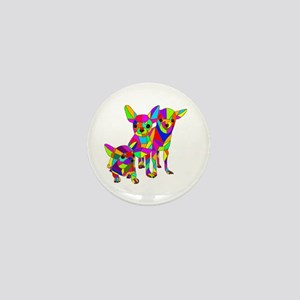 3 Colored Chihuahuas Mini Button