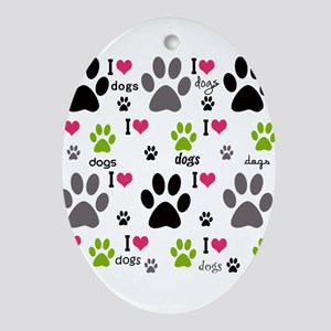 I Love Dogs Ornament (Oval)