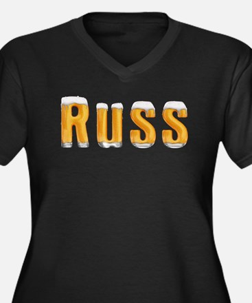 Russ Beer Women's Plus Size V-Neck Dark T-Shirt