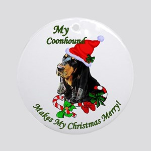 Black and Tan Coonhound Christmas Round Ornament