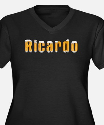 Ricardo Beer Women's Plus Size V-Neck Dark T-Shirt