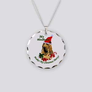 Bloodhound Christmas Necklace Circle Charm