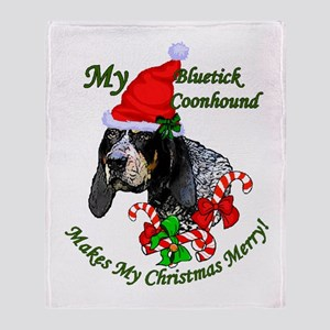 Bluetick Coonhound Christmas Throw Blanket