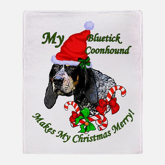 Bluetick Coonhound Christmas Throw Blanket