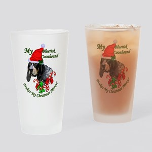 Bluetick Coonhound Christmas Drinking Glass