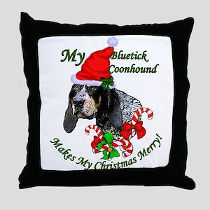 Bluetick Coonhound Christmas Throw Pillow