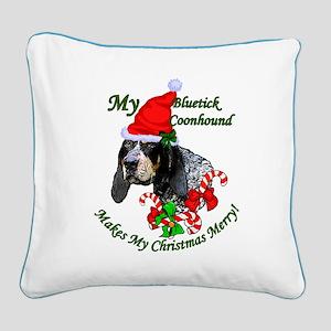 Bluetick Coonhound Christmas Square Canvas Pillow