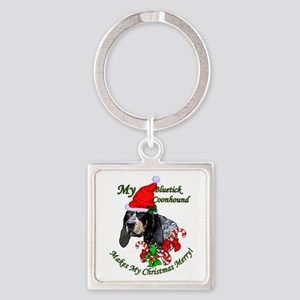 Bluetick Coonhound Christmas Square Keychain