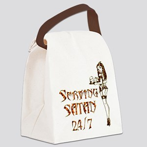 Serving Satan 24 7 Canvas Lunch Bag