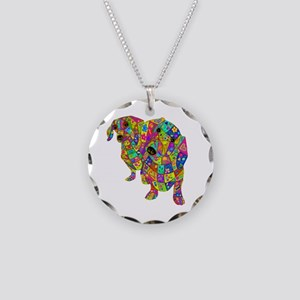 Designed Color Doxies Necklace Circle Charm