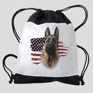 Patriotic German Shepherd Drawstring Bag