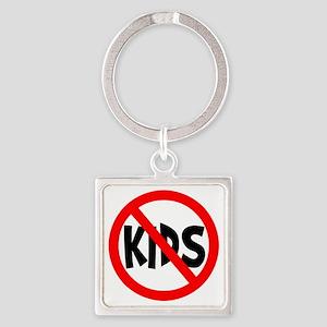 No Kids Square Keychain