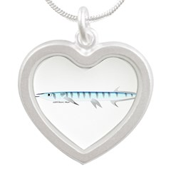 Halfbeak Ballyhoo Balao fish Silver Heart Necklace