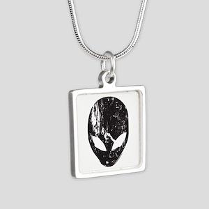 Alien Head (Grunge Texture) Silver Square Necklace