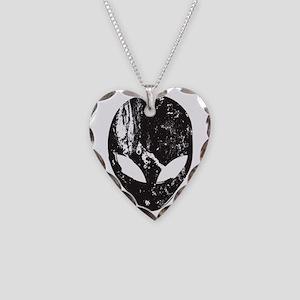 Alien Head (Grunge Texture) Necklace Heart Charm