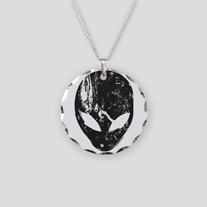 Alien Head (Grunge Texture) Necklace Circle Charm