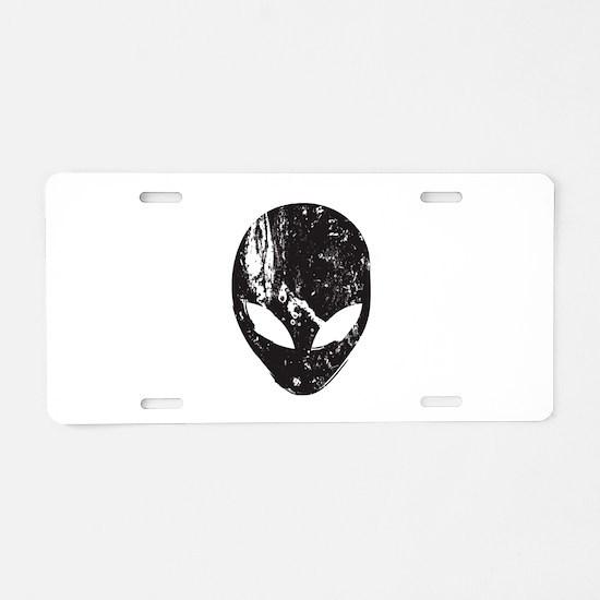 Alien Head (Grunge Texture) Aluminum License Plate