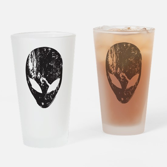 Alien Head (Grunge Texture) Drinking Glass