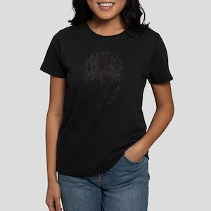 Alien Head (Grunge Texture) Women's Dark T-Shirt