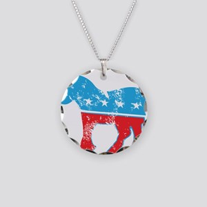 Democrat Donkey (Grunge Texture) Necklace Circle C