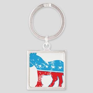 Democrat Donkey (Grunge Texture) Square Keychain