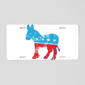 Democrat Donkey (Grunge Texture) Aluminum License