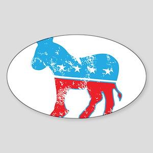 Democrat Donkey (Grunge Texture) Sticker (Oval)