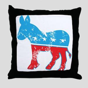 Democrat Donkey (Grunge Texture) Throw Pillow