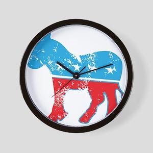 Democrat Donkey (Grunge Texture) Wall Clock