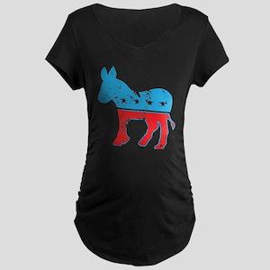 Democrat Donkey (Grunge Texture) Maternity Dark T-
