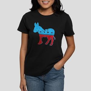 Democrat Donkey (Grunge Texture) Women's Dark T-Sh