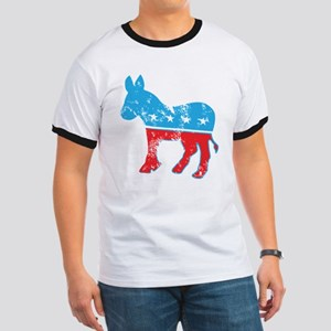Democrat Donkey (Grunge Texture) Ringer T