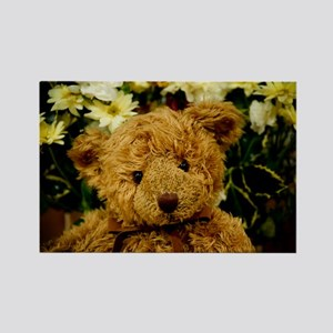 Well Loved Teddy Bear And Flowers Rectangle Magnet