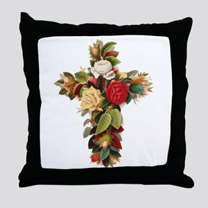 Rosy Cross Throw Pillow