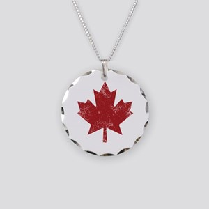 Maple Leaf Necklace Circle Charm