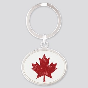 Maple Leaf Oval Keychain