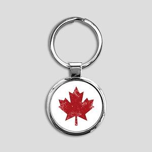 Maple Leaf Round Keychain