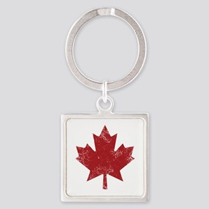 Maple Leaf Square Keychain