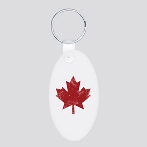 Maple Leaf Aluminum Oval Keychain