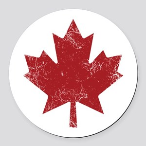 Maple Leaf Round Car Magnet
