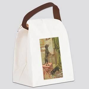 Dachsunds Painting Canvas Lunch Bag
