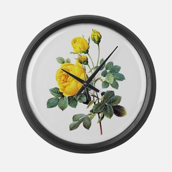 Pierre-Joseph Redoute Rose Large Wall Clock