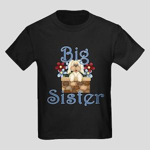 Big Sister Fluffy Pup 3 Kids Dark T-Shirt