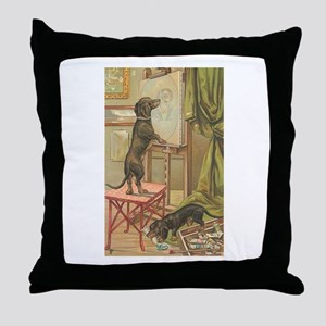 Dachsunds Painting Throw Pillow