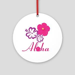 Pink Hibiscus Aloha Ornament (Round)